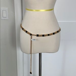 new St.John gold plated and black enameled belt